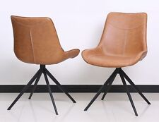 2er Set Design Chair Chairs Dining Chair Lewis Faux Leather Metal Braun New