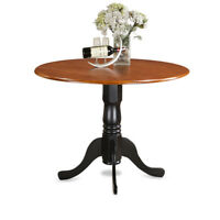"""42"""" Round Dublin drop-leaf pedestal kitchen table without chair in cherry black"""