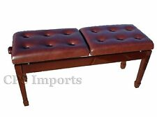 Walnut Duet Two-Seated Double Adjustable Piano Bench/Stool/Chair