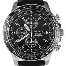 Seiko SSC009P3 SSC009P SSC009 Chronograph Calendar Alarm Pilots Collection Watch