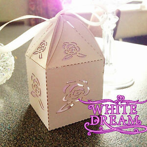 NEW - Rose Design - Quality Luxury Wedding Sweet Favour Boxes with Ribbon Ties