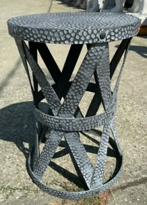Round Modern Side Table, Hammered Finish