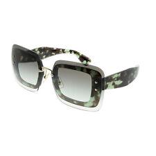 Miu Miu MU 02RS UAG0A7 Green Havana Square Sunglasses Green Gradient Lens