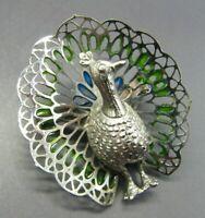 Vintage SILVER TONE PEACOCK BROOCH PIN Blue Green Enamel 3-DIMENSIONAL BIRD