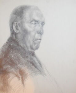 Vintage portrait old man pencil drawing