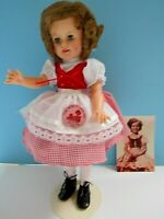 "ORG. 1957 IDEAL SHIRLEY TEMPLE 15"" DOLL IN HEIDI DRESS PLUS PINBACK & PHOTO - EX"