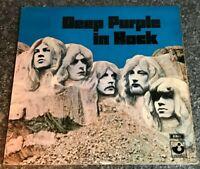 LP VINYL DEEP PURPLE IN ROCK 1970 UK HARVEST1ST PRESS HARVEST NO EMI LABELS EX