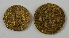 Pair of Spanish Gold Doubloons - Coins/Pirates/Treasure/Spanish/Gift/Present