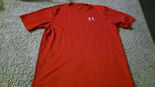 Mens Under Armour T-Shirt Size M Red Small White Logo Short Sleeve