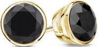 Diamant Ohrstecker 1,00 Karat schwarze Diamanten 14K 585er  od. 18K 750 Gelbgold
