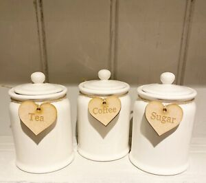 Tea Coffee Sugar Heart Wooden Labels Complete With Twine Rustic