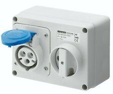Blue 16A 230V Wall Mounted Socket Horizontal Interlocking IP44 - Gewiss GW66004