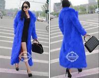 BJ248 Womens Chic Faux Fox Fur Long Coats Slim Warm Hooded Parka Outwear Jackets