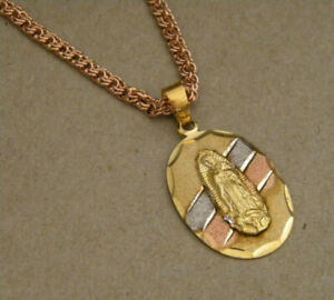 Rhodium Rose Yellow Gold Plated Virgin Mary Charm & 24in Flat Rope Chain Set