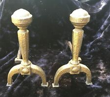 Hand Hammered Gilded Arts & Crafts Andirons - Unique Texture - Marked A L