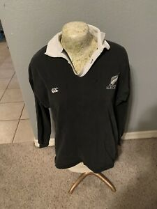 Vintage Canterbury Of New Zealand Rugby Shirt Size L All Blacks VTG Jersey