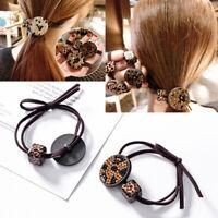 Women Leopard Crystal Hairband Hair Ties Rope Elastic Ponytail Scrunchie Holder
