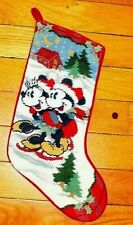 Mickey & Minnie Mouse Christmas Stocking Needlepoint Night Scene