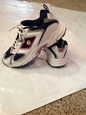 Spalding Brand  White and Blue Leather Sneakers, Women/8.5, Excellent!