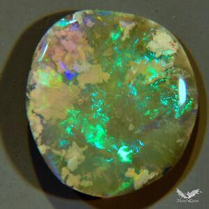 3.15 cts Opal Flash Bright Green Lightning Ridge Solid Polished Stone #6.234
