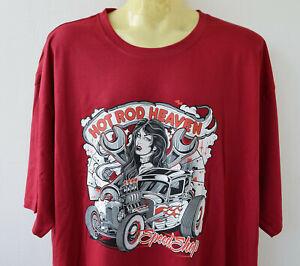 Hot Rod Heaven T-Shirt 5XL Sonar Übergrösse Vintage Rockabilly Weinrot