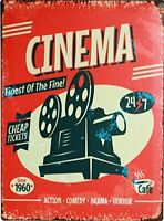 "CINEMA Media Room Decor Tin Metal Sign 8"" x 12"""