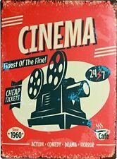 "CINEMA Movie Theater Media Room Decor Tin Metal Sign 8"" x 12"""