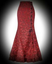 New Red Steampunk Gothic Paisley Brocade Mermaid Maxi Skirt size 2XL 14 16 18