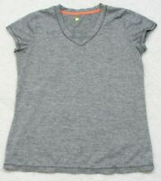Cascade Sport Gray Athletic Short Sleeve Tee T-Shirt Top Woman's Medium V-Neck
