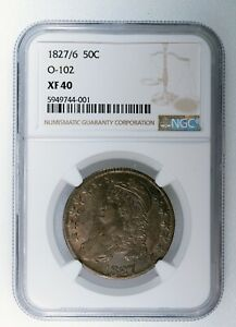 1827/6 Capped Bust Half Dollar O-102 NGC Certified XF 40 Coin Beautiful Tone 50c