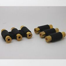 2pcs gold 3 RCA AV Audio Video Female to Female Coupler extender Adapter_b
