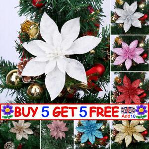 Christmas Large Xmas Poinsettia Glitter Flower Tree Hanging Party Decor