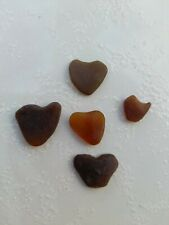 A Lot of 5 pieces Jewelry Quality, Hearth Shape- Genuine Sea Glass from P.R.