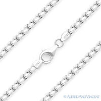 3.6mm Round Box Link Italian Chain Necklace .925 Italy Sterling Silver w Rhodium