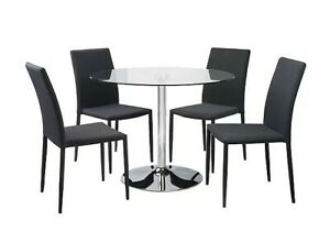 Wyatt Glass Circle Table and 4 Fabric Grey Chairs