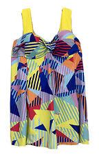 Womens Swim Tankini Top Push-Up Underwired Swimwear Twist Front Size L 16 EUC