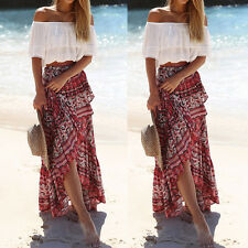 Women Ladies Boho Tribal Floral Skirt Maxi Summer Beach Long Casual Skirt Dress