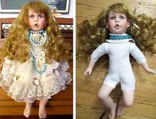 """Njsf Collectible Sitting 15"""" Doll Blond Curly Hair Blue Eye Porcelain Cloth Body"""