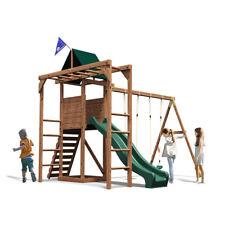 Climbing Frame Kids Swings Set Slides Tower Playhouse Monkey Bars Rock Walls