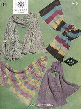 Vintage knitting pattern-how to make pretty cobweb shetland lace scarves, scarf