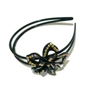 Rhinestone Bling Black Flower Double Thin Skinny Plastic Headband w/ Grip Teeth
