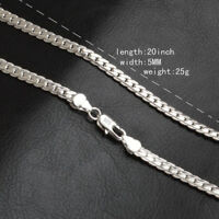 High Quality Lots Silver 5MM Flat Curb Chain Necklace Jewelry Woman Men 20 Inch