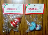 (2) VINTAGE Kmart Ornaments - Wood Hand Painted BELLS - Blue & Red (SEALED)