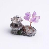 Crystal Quartz Amethyst Tree Pavilion Mineral Specimens Healing Reiki Decor Rock