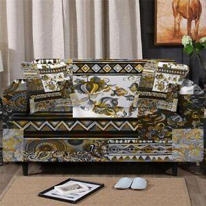 Geometric Floral Boho Sofa Chair Couch Cushion Stretch Cover Slipcover Set Decor