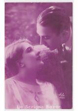 cartolina fotografica d'epoca ELA coppia innamorati art deco photo postcard rppc