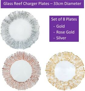 Glass Charger x8 Plate Weddings Rose Gold Silver 33cm Diameter Event Decor UK