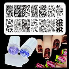 BORN PRETTY Nail Art Stamping Plates Roses Design Image Stamper Scraper Kit DIY