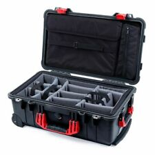 Black & Red Pelican 1510 case with Padded Dividers (Grey) and Computer Lid Pouch