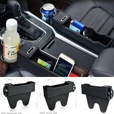 BLACK 2 pcs Seat Gap Console Organizer Box For Coin Collect & Cup Holder